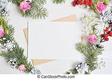 cuore, foglio, fiocchi neve, forma, mockup, cones., testo, ghirlanda, natale, decorato, legno, carta, posto, fondo, bianco, tuo