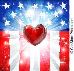 cuore, fondo, americano, patriottico