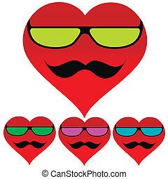cuore, fondo, baffi, occhiali