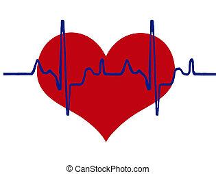 cuore, fondo, battito cardiaco