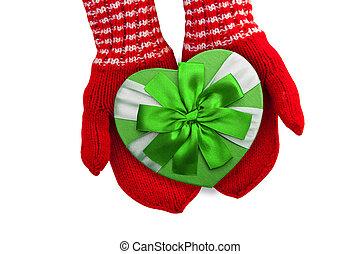 cuore, forma, arco regalo, guanti, presa a terra, verde rosso