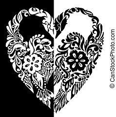 cuore, forma, foglie, fiori, riccioli, nero, bianco, cigni