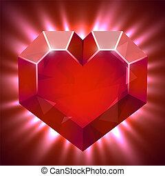 cuore, forma, luce, beams., rubino, gemma