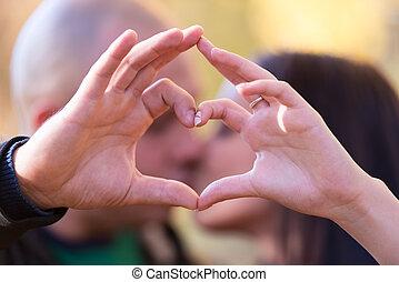 cuore, forma, mani, formare