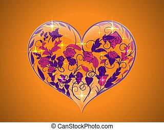 cuore, forma, vetro, dipinto, valentina, imporpori sfondo, fiori arancia, trasparente