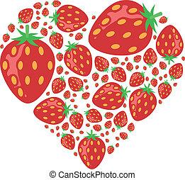 cuore, fragole