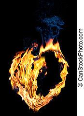 cuore, fuoco, love., forma, nero, vuoto, mezzo, concept: