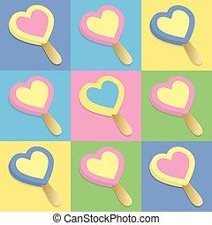 cuore, ghiaccio, lecca lecca, crema
