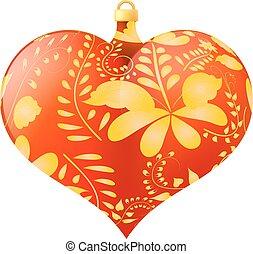 cuore, giocattolo, dorato, orn, forma, floreale, natale, rosso