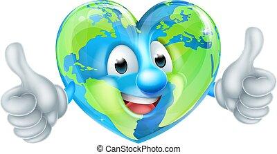 cuore, globo, carattere, cartone animato, mondo, giorno terra