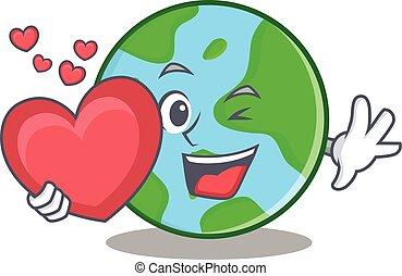 cuore, globo, carattere, cartone animato, mondo