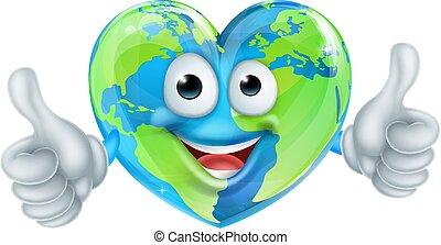 cuore, globo, carattere, su, cartone animato, pollici, mondo, giorno terra