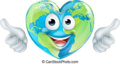 cuore, globo, carattere, su, giorno, pollici, terra, cartone animato, mascotte