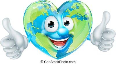 cuore, globo, giorno, terra, mondo, cartone animato, mascotte