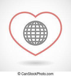 cuore, globo, icona, linea, mondo