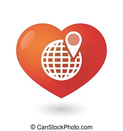 cuore, globo, icona, mondo