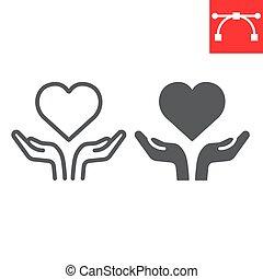 cuore, grafica, segno, lgbt, cuore, colpo, linea, 10., icona, lineare, editable, glyph, vettore, aperto, mani libere, amore, eps