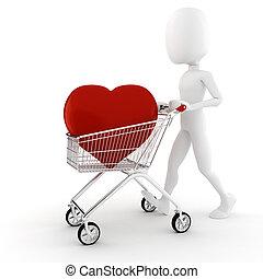 cuore, grande, acquisto, 3d, rosso, uomo
