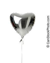 cuore, grande, balloon, isolato, metallico, singolo,...