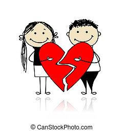 cuore, grande, coppia, due, valentina, day., parti, rosso
