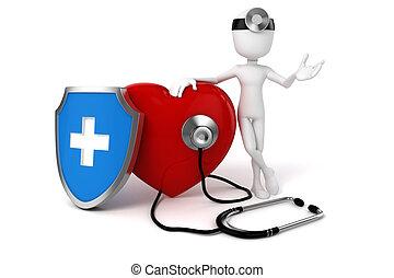 cuore, grande, medico, 3d, rosso, uomo