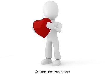 cuore, grande, presa a terra, 3d, rosso, uomo