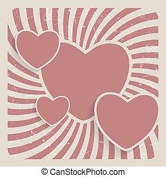 cuore, grunge, astratto, illustrazione, vettore, retro, fondo