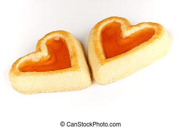 cuore ha modellato, albicocca, due, marmellata, biscotti