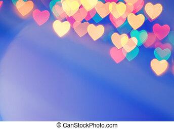 cuore ha modellato, astratto, sfocato, (natural, fondo,...