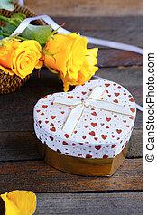 cuore ha modellato, giorno valentines, scatola regalo, e, rose