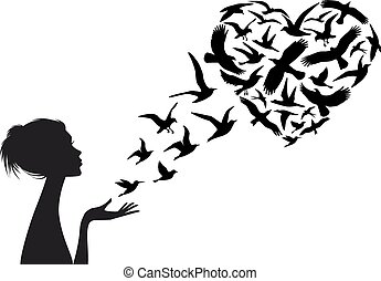 cuore ha modellato, volare, uccelli, vettore