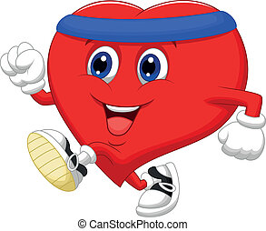 cuore, healt, custodire, cartone animato, correndo