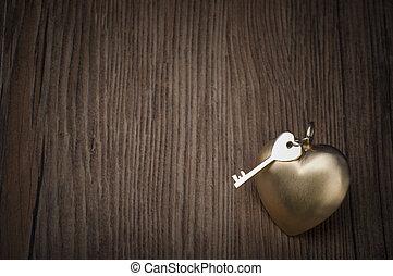 cuore, heart., oro, valentine, concept., greetings., chiave, vecchio, mio, giorno
