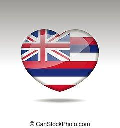 cuore, icon., bandiera, hawai, simbolo., stato, amore