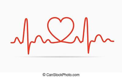cuore, icon., vettore, illustration.