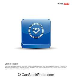 cuore, icona, -, 3d, blu, bottone
