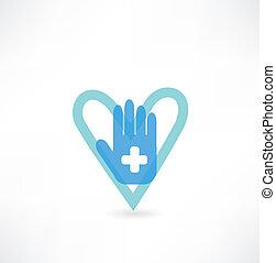 cuore, icona, croce, mano