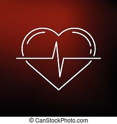 cuore, icona, fondo, impulso, rosso