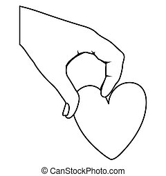 cuore, icona, mano