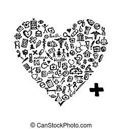 cuore, icone, medico, forma, disegno, tuo
