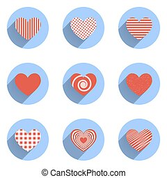 cuore, icone, set, valentines, ideale, giorno matrimonio