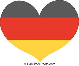 cuore, illustration., appartamento, bandiera, isolato, fondo., forma, vettore, germania, bianco, style., icona