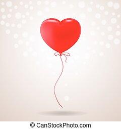 cuore, illustration., festivo, balloon, isolato, fondo., forma, vettore, rosso