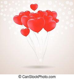 cuore, illustration., festivo, isolato, fondo., forma, vettore, palloni, rosso