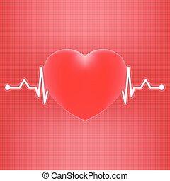 cuore, illustration., realistico, abbatacchiare, isolato, fondo., vettore, ekg
