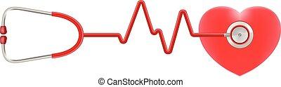 cuore, illustration., realistico, isolato, fondo., vettore, stetoscopio, bianco