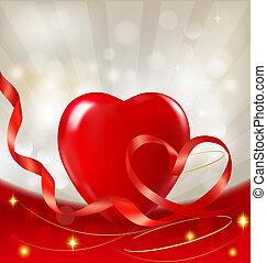 cuore, illustration., ribbon., fidanzato, fondo., vettore, giorno, rosso