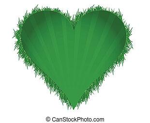 cuore, illustrazione, erba, verde