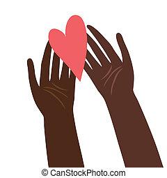 cuore, illustrazione, mani