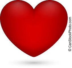 cuore, illustrazione, valentina, day., s, vettore, fondo, bianco rosso